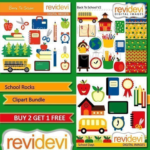 School Rocks Clipart Bundle  Revidevi    Mygrafico