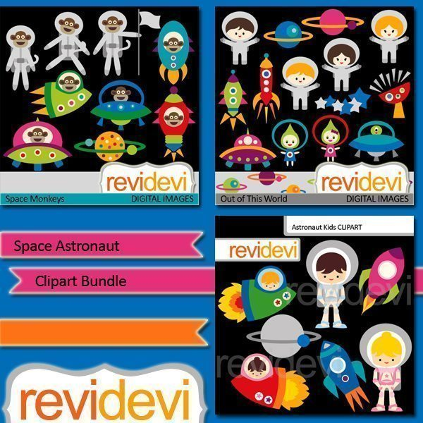 Space Astronaut Clipart Bundle  Revidevi    Mygrafico