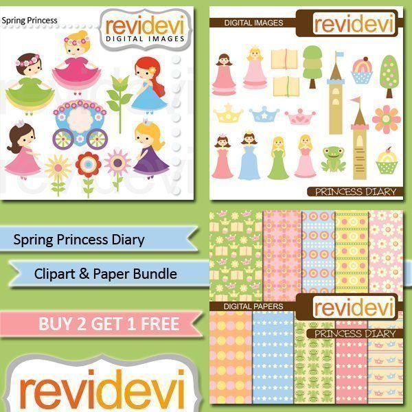 Spring Princess Diary Clipart and Paper Bundle  Revidevi    Mygrafico
