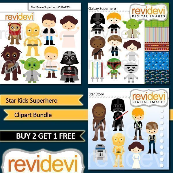 Star Kids Superhero Clipart Bundle  Revidevi    Mygrafico