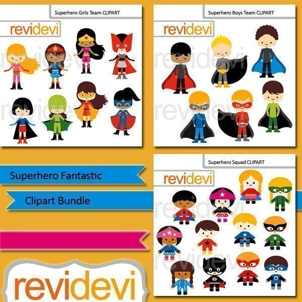 Superhero Fantastic clip art bundle  Revidevi    Mygrafico
