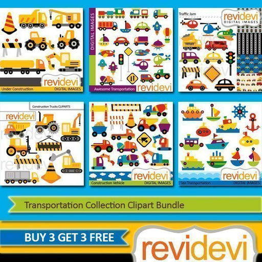 Transportation Collection Clipart Bundle
