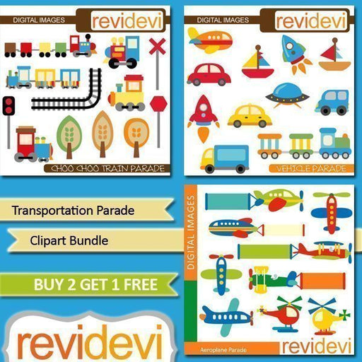 Transportation Parade Clipart Bundle  Revidevi    Mygrafico