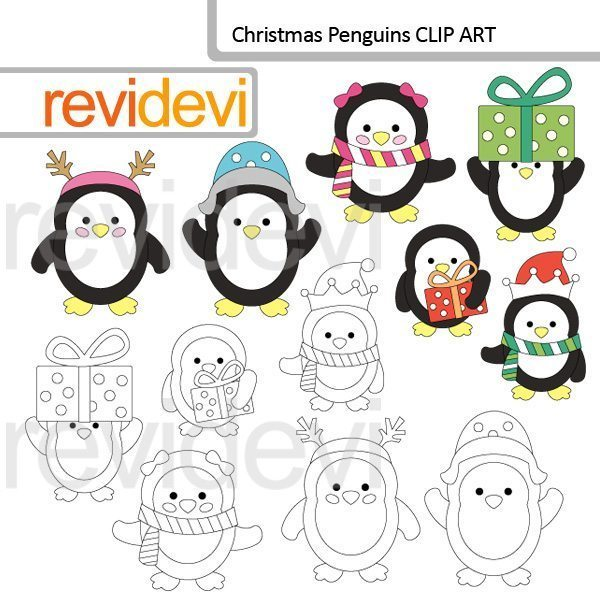 Christmas Penguins clipart and stamp  Revidevi    Mygrafico