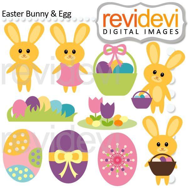 Easter Bunny and Egg Cliparts  Revidevi    Mygrafico