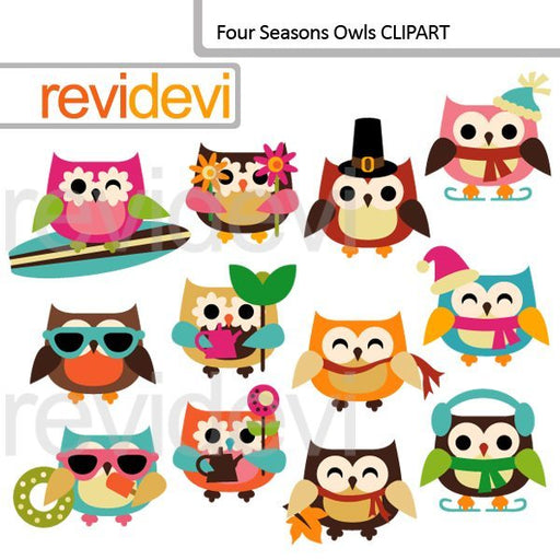 Four Seasons Owls Clipart  Revidevi    Mygrafico