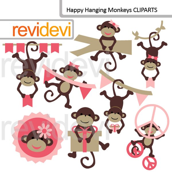 Happy Hanging Monkeys Clipart  Revidevi    Mygrafico