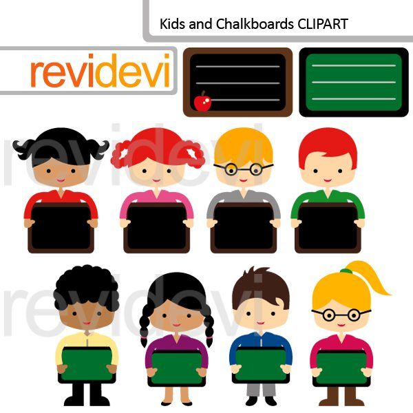 Kids and Chalkboards Clipart  Revidevi    Mygrafico