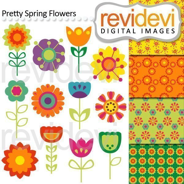 Pretty Spring Flowers Clip arts  Revidevi    Mygrafico