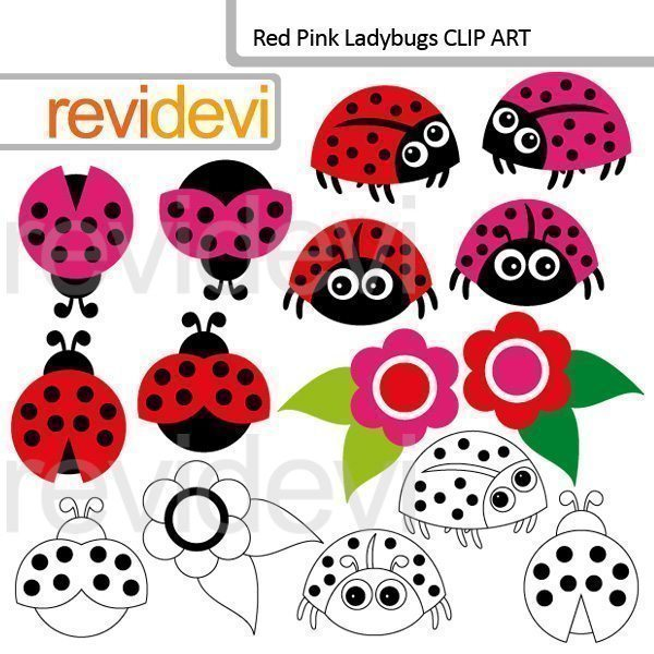 Red Pink Ladybugs clipart  Revidevi    Mygrafico