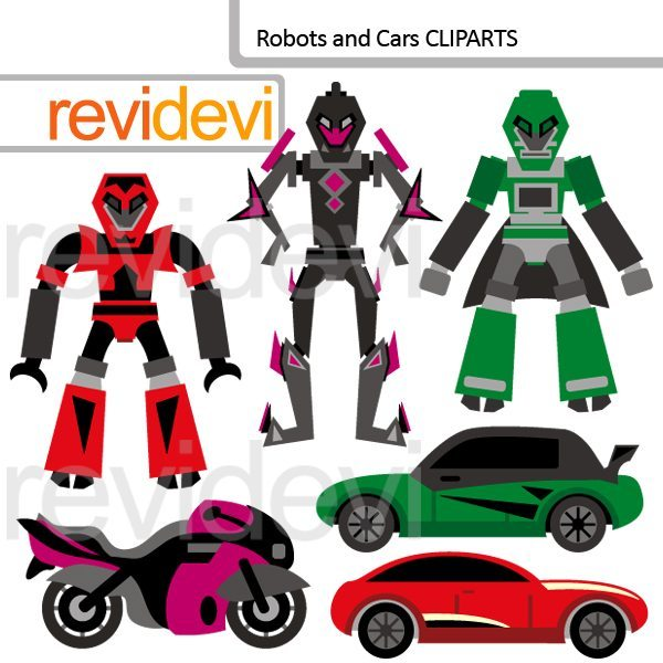 Robots and Cars Clip art  Revidevi    Mygrafico