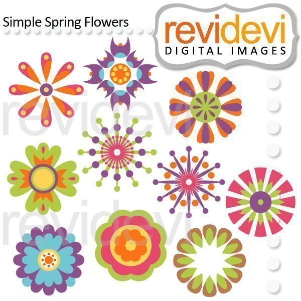 Simple Spring Flowers Clipart  Revidevi    Mygrafico