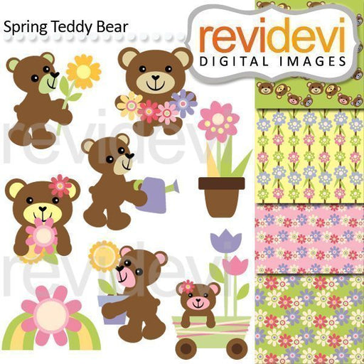 Spring Teddy Bear Clip art  Revidevi    Mygrafico