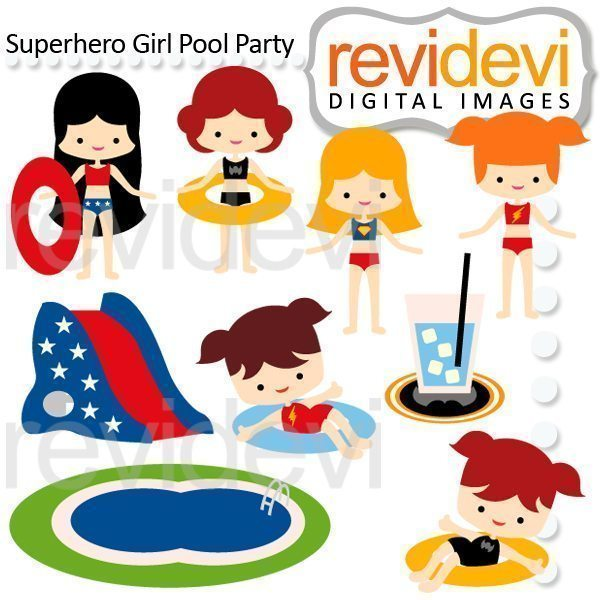 Superhero Girl Pool Party Clipart  Revidevi    Mygrafico