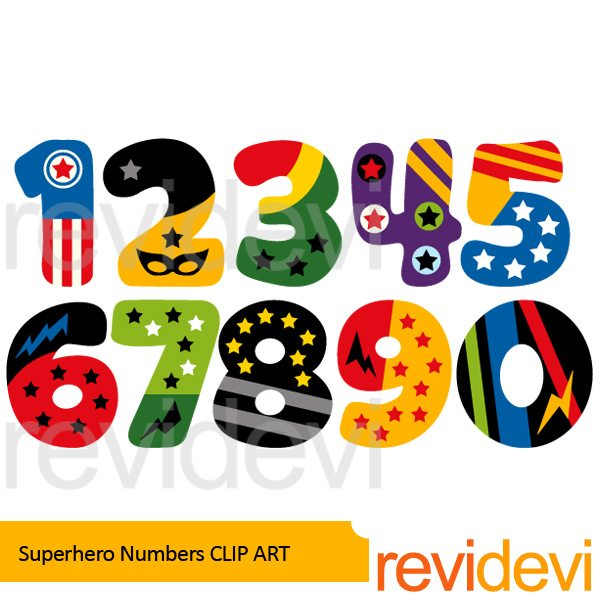 Superhero Numbers Clipart  Revidevi    Mygrafico