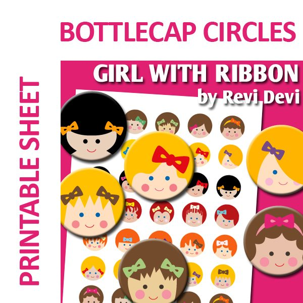 Girl with Ribbon Bottlecap  Revidevi    Mygrafico