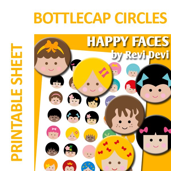Happy Faces Bottlecap Circles  Revidevi    Mygrafico