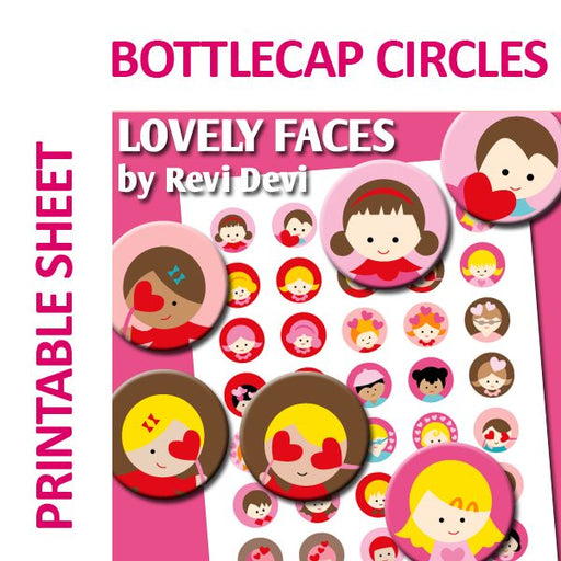Lovely Faces Bottlecap Circles Printable  Revidevi    Mygrafico