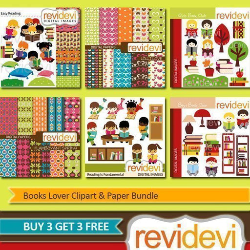 Books Lover Clipart & Paper Bundle  Revidevi    Mygrafico