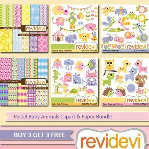 Pastel Baby Animals Clipart & Paper Bundle  Revidevi    Mygrafico