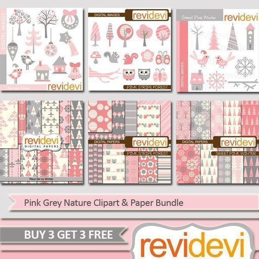Pink Grey Nature Clipart & Paper Bundle  Revidevi    Mygrafico