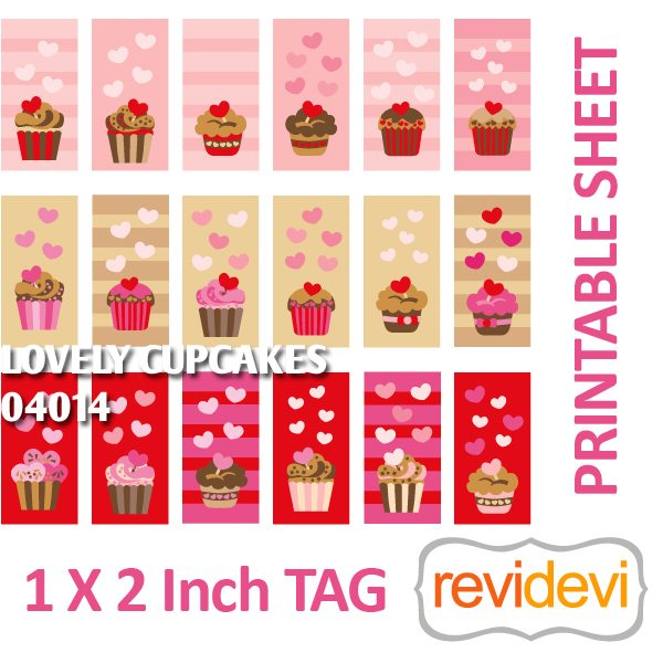 Lovely Cupcakes 1x2 inch tag Printable  Revidevi    Mygrafico