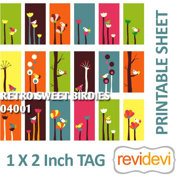 Retro Sweet Birdies 1x2 inch tag  Revidevi    Mygrafico