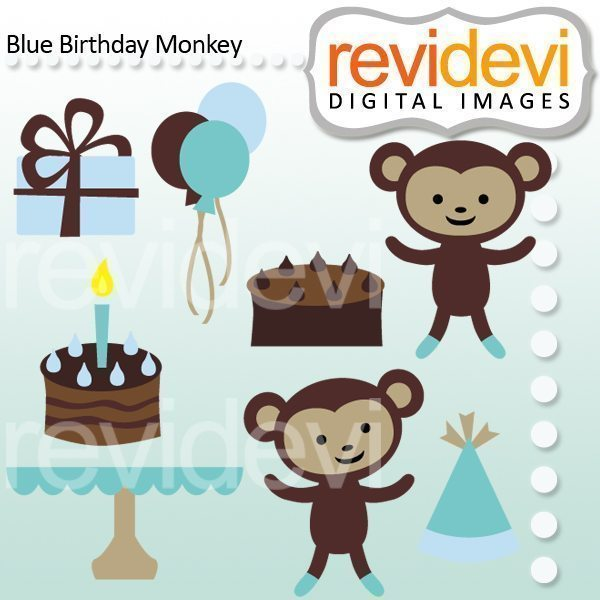 Blue Birthday Monkey  Revidevi    Mygrafico