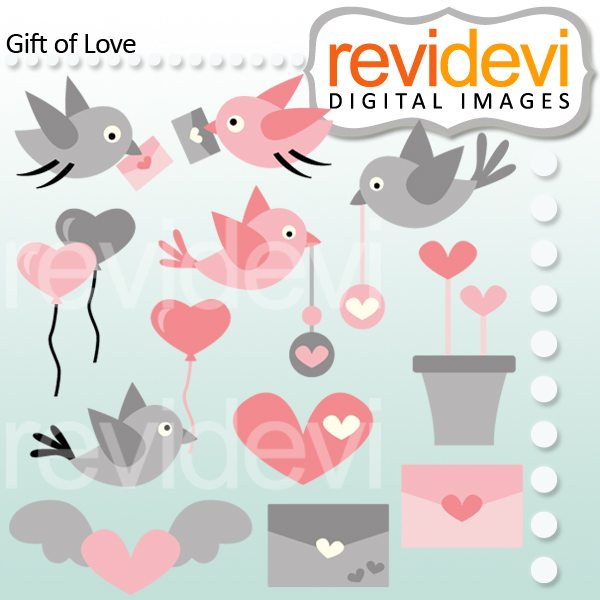 Gift of Love & Birds Clipart  Revidevi    Mygrafico