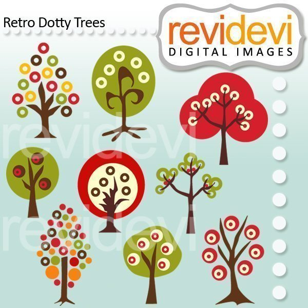 Retro Dotty Trees  Revidevi    Mygrafico
