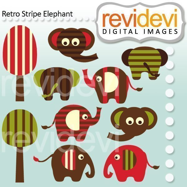 Retro Stripe Elephant  Revidevi    Mygrafico