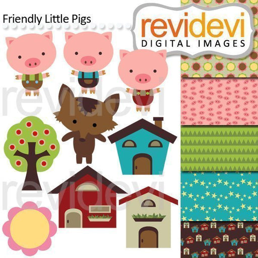Friendly Little Pigs - Clipart & Backgrounds  Revidevi    Mygrafico