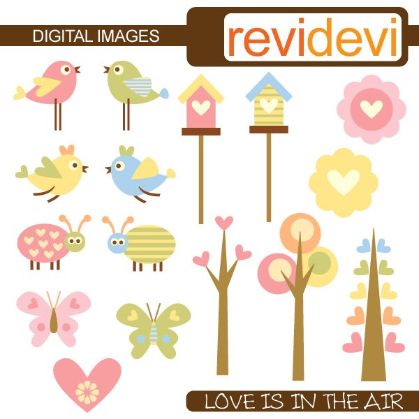 Love is in the air birds and trees clipart  Revidevi    Mygrafico