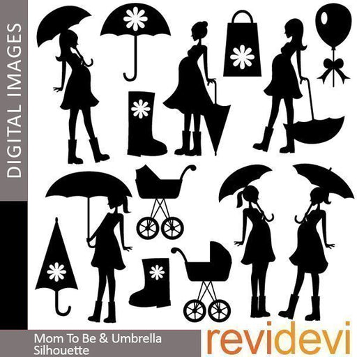 Mom To Be and Umbrella Silhouette Clipart  Revidevi    Mygrafico