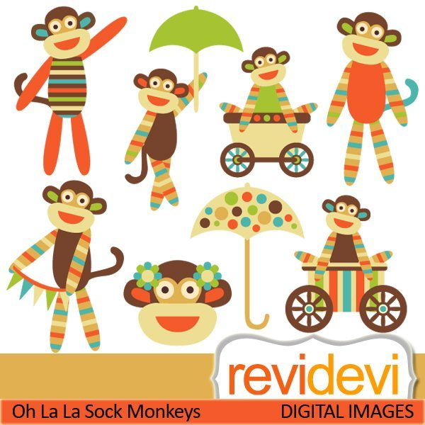 Retro Sock Monkeys Clipart & Paper Bundle  Revidevi    Mygrafico