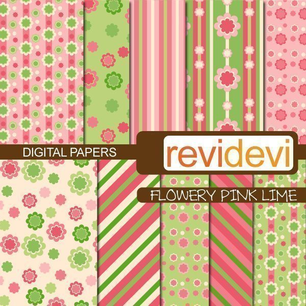 Flowery Pink Lime Papers Digital Papers & Background Revidevi    Mygrafico