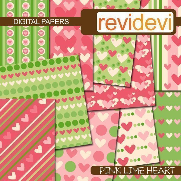 Pink Lime Heart Papers  Revidevi    Mygrafico