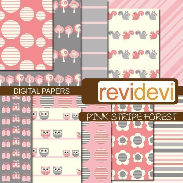 Pink Stripe Forest Papers  Revidevi    Mygrafico