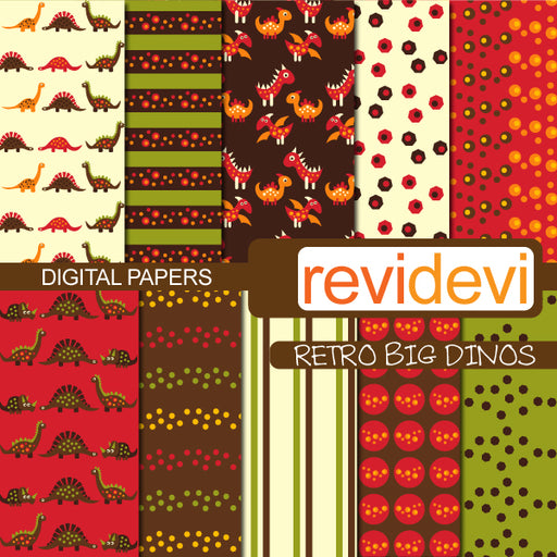 Retro Big Dinos Papers Digital Papers & Backgrounds Revidevi    Mygrafico