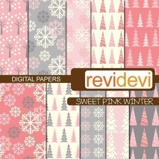 Sweet Pink Winter Papers  Revidevi    Mygrafico