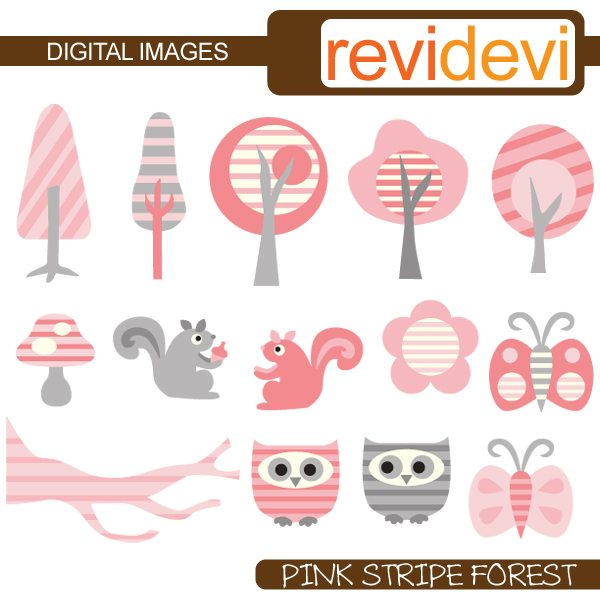 Pink Stripe Forest Clipart  Revidevi    Mygrafico