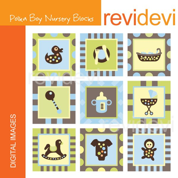 Polka Boy Nursery Blocks  Revidevi    Mygrafico