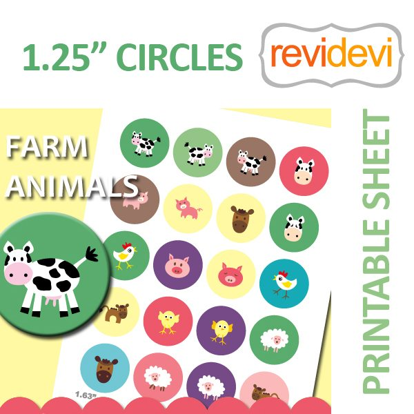 "Farm Animals 1.25"" Circles  Revidevi    Mygrafico"