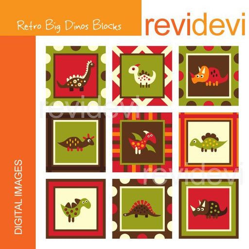 Retro Big Dinos Block Clipart  Revidevi    Mygrafico