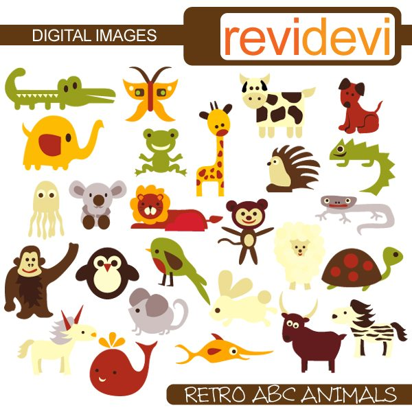Retro ABC Animals  Revidevi    Mygrafico