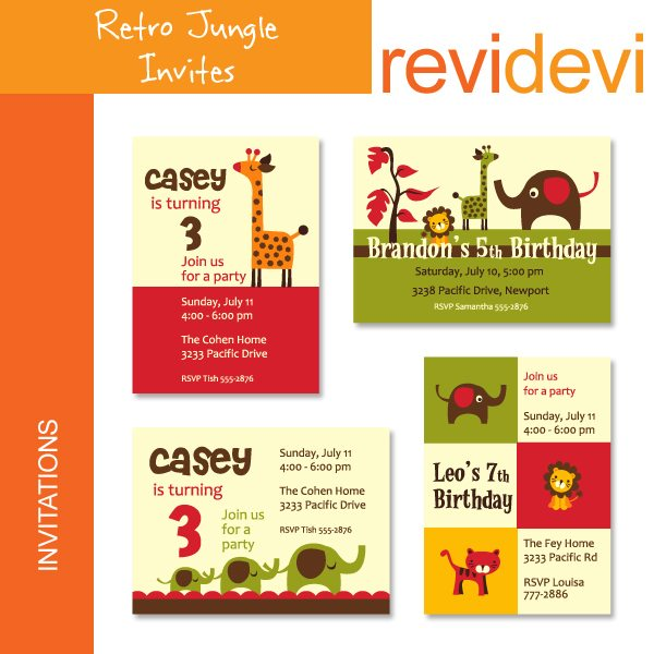 Retro Jungle Invites  Revidevi    Mygrafico