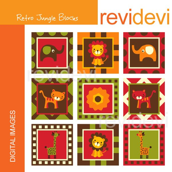Retro Jungle Block Clipart  Revidevi    Mygrafico