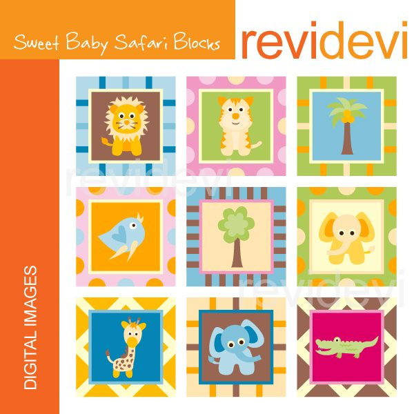 Sweet Baby Safari Block Clipart  Revidevi    Mygrafico