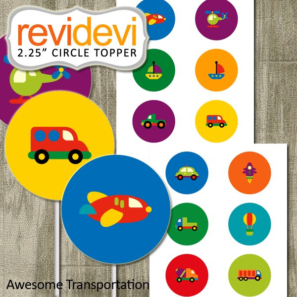 "Awesome Transportation 2.25"" Topper  Revidevi    Mygrafico"