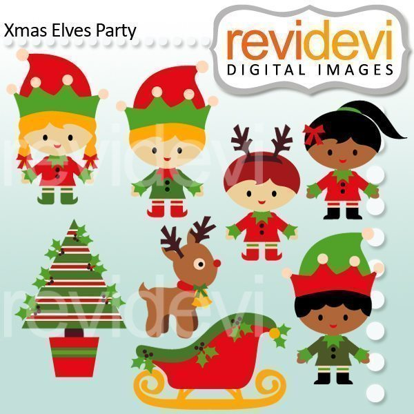 Xmas Elves Party Clipart